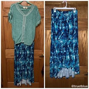 🆕 French Laundry Watercolor High-Low Skirt Sz 1X